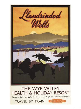 Llandrindod Wells, England - Wye Valley Resort British Rail Poster