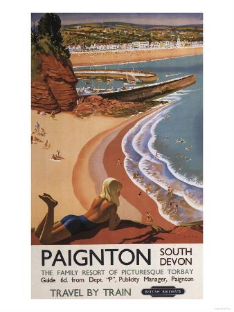Paignton, England - British Railways Girl Looking over a Cliff Poster