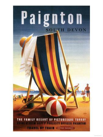 Paignton, England - British Railways Beach Chair and Ball Poster