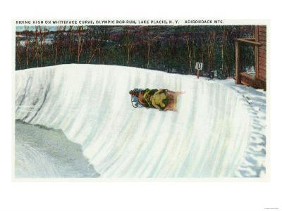 Lake Placid, New York - Riding the Whiteface Curve on the Olympic Bobsled Run