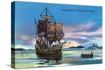 Plymouth, Massachusetts - The Mayflower Landing in 1620 Scene