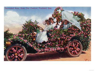 Portland, Oregon - Rose City Festival Decorated Auto with Ladies
