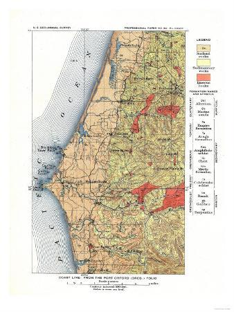 Port Orford, Oregon - US Geological Survey Map of the Coastline from Port Orford