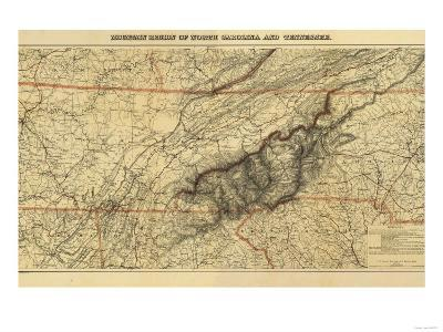 Mountains of North Carolina and Tennessee - Panoramic Map