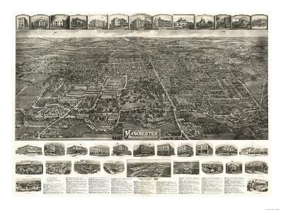 Manchester, Connecticut - Panoramic Map