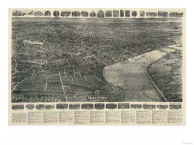 Middletown, Connecticut - Panoramic Map