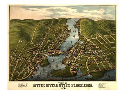 Mystic River, Connecticut - Panoramic Map