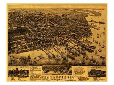 Pensacola, Florida - Panoramic Map