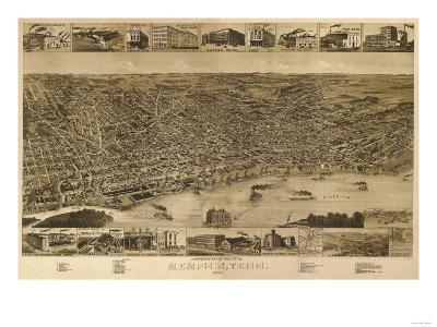 Memphis, Tennessee - Panoramic Map
