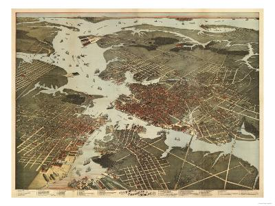 Norfolk, Virginia - Panoramic Map