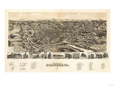 Roanoke, Virginia - Panoramic Map