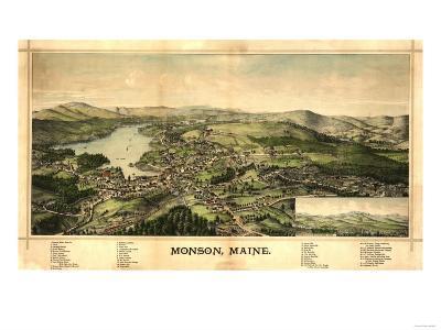 Monson, Maine - Panoramic Map