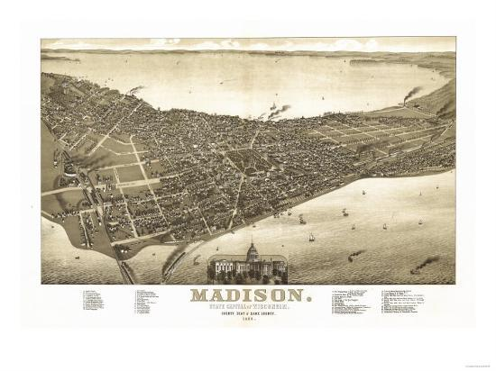 Madison, Wisconsin - Panoramic Map No. 2 Posters by Lantern Press at ...
