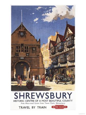 Shrewsbury, England - Old Market Hall View British Railways Poster