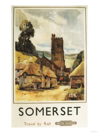 Somerset, England - Historic Village Scene British Railway Poster