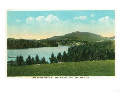 Saranac Lake, New York - View of Lake Flower with Mt. Baker in Distance
