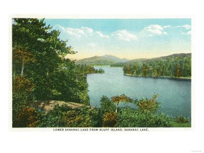 Saranac Lake, New York - View of Lower Saranac Lake from Bluff Island
