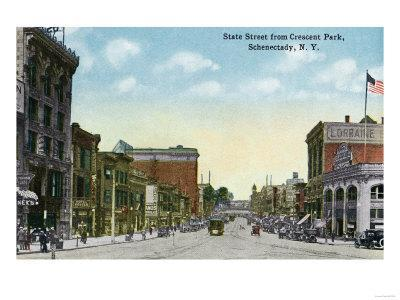 Schenectady, New York - View of State Street from Crescent Park