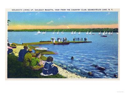 Skaneateles, New York - Country Club View of Sailboat Regatta No. 2