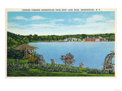 Skaneateles, New York - View of Town from West Lake Road