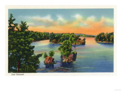 Thousand Islands, New York - View of Lost Channel