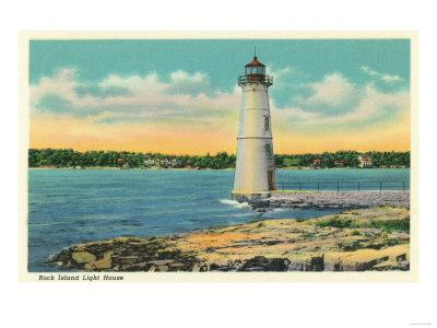 Thousand Islands, New York - Exterior View of Rock Island Light House