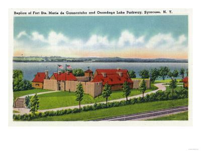 Syracuse, NY - Onondaga Lake Parkway, Ft. Ste. Marie de Gannentaha Replica