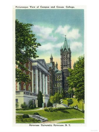 Syracuse, New York - Syracuse U Campus View Showing Crouse College