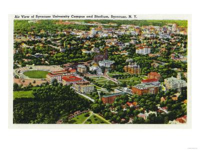 Syracuse, New York - Aerial View of Syracuse University and Stadium