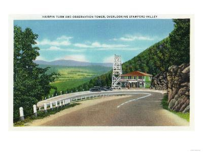 Stamford Valley, MA - Mohawk Trail Hairpin Turn and Observation Tower View