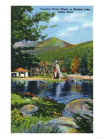 White Mountains, New Hampshire - Shadow Lake Overshot Water Wheel View