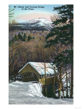 White Mountains, NH - Covered Bridge at Flume in Winter, Mt Liberty in Distance