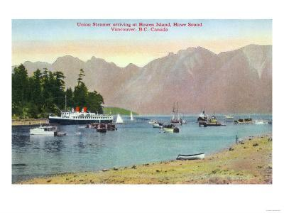 Vancouver, Canada - Howe Sound View of Union Steamer at Bowen Island
