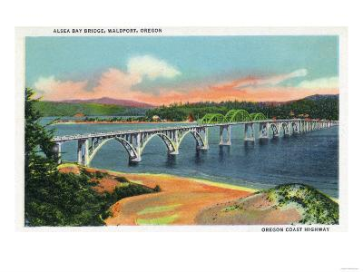 Waldport, Oregon - View of the Alsea Bay Bridge