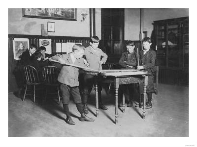 Boys Playing Pool at the United Worker's Boys Club Photograph - New Haven, CT