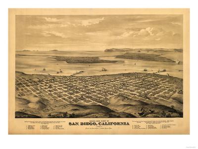 San Diego, California - Panoramic Map