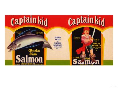 Captain Kid Brand Salmon Label - Seattle, WA