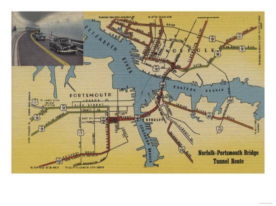 Virginia Detailed Map Of Norfolk Portsmouth Bridge Tunnel Poster