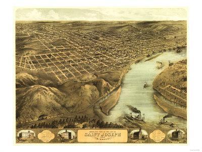 Saint Joseph, Missouri - Panoramic Map