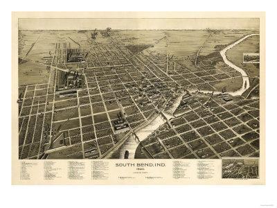 South Bend, Indiana - Panoramic Map
