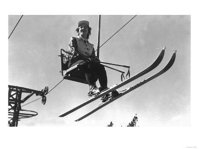 Lady Skier on Timberline Ski Lift - Mt. Hood, OR