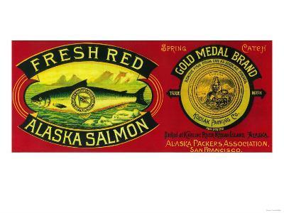 Gold Medal Salmon Can Label - Kodiak Island, AK