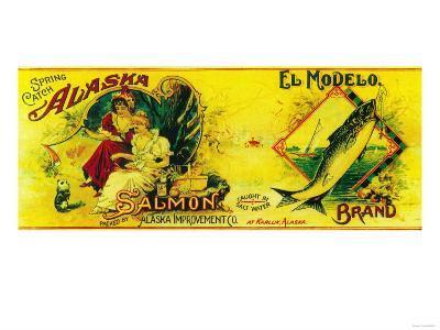 El Modelo Salmon Can Label - Karluk, AK