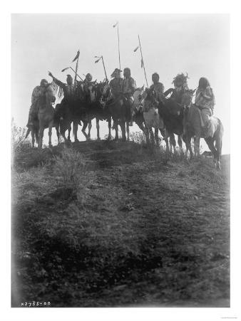 Eight Crow Indians on horseback, Montana Curtis Photograph