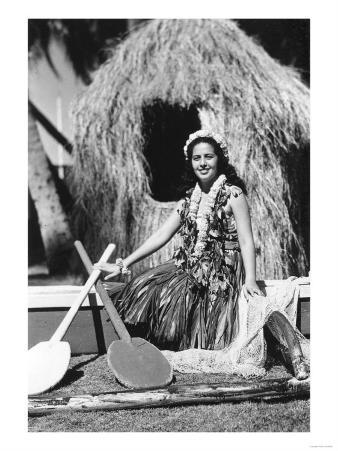 Hula Girl with Outrigger Canoe Hawaii Photograph - Hawaii