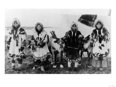 Four Eskimo Natives and Reindeer Photograph - Alaska