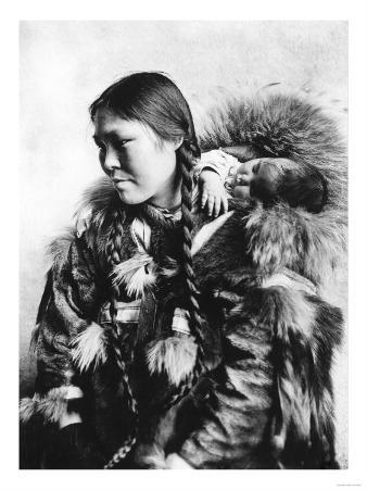 Eskimo Mother and Child in Alaska Photograph - Alaska