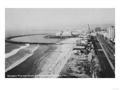 Long Beach, California Rainbow Pier and Ocean Blvd. Photograph - Long Beach, CA
