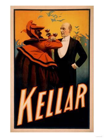 Kellar Magician Drinking Wine with the Devil Magic Poster