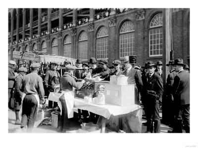 Fans buying hot dogs at Ebbets Field, Brooklyn Dodgers, Baseball Photo - New York, NY
